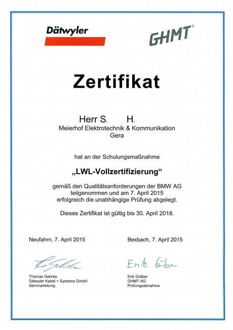 GMHT Zertifikat S. H.